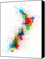 Paint Digital Art Canvas Prints - New Zealand Paint Splashes Map Canvas Print by Michael Tompsett
