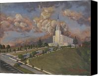 Mormon Painting Canvas Prints - New Zealand temple Canvas Print by Jeff Brimley