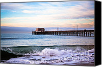 Coast Canvas Prints - Newport Beach CA Pier at Sunrise Canvas Print by Paul Velgos