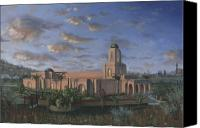 Mormon Painting Canvas Prints - Newport Beach Temple Canvas Print by Jeff Brimley