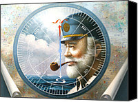 World Map Canvas Painting Canvas Prints - NEWS  MAP CAPTAIN  or  SEA CAPTAIN Canvas Print by Yoo Choong Yeul