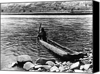 Indian Canoe Canvas Prints - Nez Perc Canoe. Nez Perc Man Canvas Print by Everett