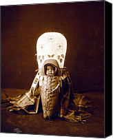 1890s Portrait Canvas Prints - Nez Percé Infant In Cradleboard. Edward Canvas Print by Everett