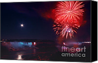 Fourth Of July Photo Canvas Prints - Niagara Falls Fireworks Canvas Print by Charline Xia