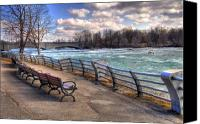 Benches Canvas Prints - Niagara Rapids in Early Spring Canvas Print by Tammy Wetzel