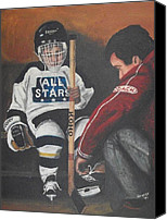 Pond Hockey Canvas Prints - Nice and Tight Canvas Print by Ron  Genest