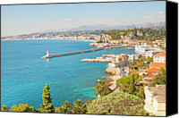 Building Canvas Prints - Nice Coastline And Harbour, France Canvas Print by John Harper