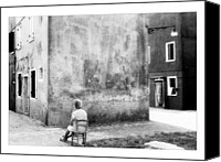 Photographs Digital Art Canvas Prints - Nice View - Black and White - Burano - Italy Canvas Print by Marco Hietberg