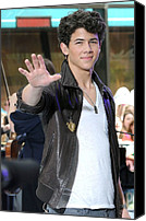 T-shirt Canvas Prints - Nick Jonas At Talk Show Appearance Canvas Print by Everett