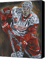 David Courson Canvas Prints - Nicklas Lidstrom Canvas Print by David Courson