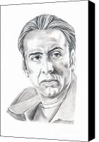 Pencil Drawing Canvas Prints - Nicolas Cage Canvas Print by Murphy Elliott