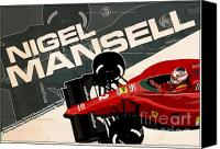 World Series Digital Art Canvas Prints - Nigel Mansell - F1 1990 Canvas Print by Evan DeCiren