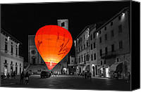 Fineartam Canvas Prints - Night Balloon Canvas Print by Michael Avory