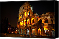 Lights Framed Prints Canvas Prints - Night Colosseum Canvas Print by Kevin Flynn