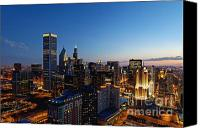 Sears Tower Canvas Prints - Night Falls on Chicago - D001087 Canvas Print by Daniel Dempster