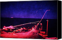 Iraq Canvas Prints - Night Flight Operations Aboard Canvas Print by Everett