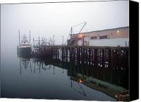 Nautical Canvas Prints - Night Fog Along the Dock Canvas Print by Bob Orsillo