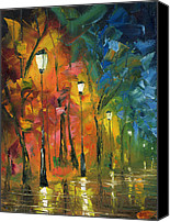 Oil Lamp Canvas Prints - Night in the Park Canvas Print by Ash Hussein