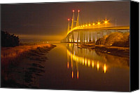 Florida Bridge Canvas Prints - Night Lights Canvas Print by Debra and Dave Vanderlaan