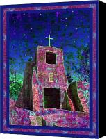 Santa Fe Digital Art Canvas Prints - Night Magic San Miguel Mission Canvas Print by Kurt Van Wagner