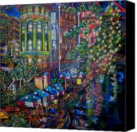 Riverwalk Canvas Prints - Night on the River Canvas Print by Patti Schermerhorn