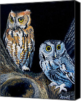 Darkness Painting Canvas Prints - Night Owls Canvas Print by Ferrel Cordle