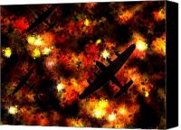 Airplane Canvas Prints - Night Raid - Lancaster Bomber Canvas Print by Michael Tompsett