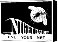 Vintage Canvas Prints - Night Raider WW2 Malaria Poster Canvas Print by War Is Hell Store