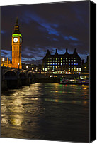 Clocktowers Canvas Prints - Night Canvas Print by Sebastian Wasek