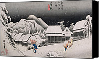 Village Canvas Prints - Night Snow Canvas Print by Hiroshige
