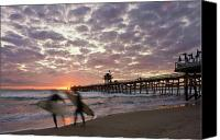 San Clemente Canvas Prints - Night Surfing Canvas Print by Gary Zuercher