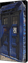 Tardis Canvas Prints - Night Tardis Canvas Print by Rhonda Chase