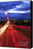 Moving Canvas Prints - Night traffic Canvas Print by Elena Elisseeva