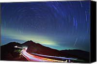 Astronomy Canvas Prints - Night Traffic Trails Canvas Print by Samyaoo