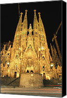 Religious Structures Canvas Prints - Night View Of Antoni Gaudis La Sagrada Canvas Print by Richard Nowitz