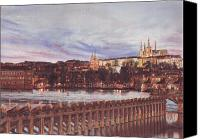 Charles Bridge Pastels Canvas Prints - Night View of Charles Bridge and Prague Castle Canvas Print by Gordana Dokic Segedin