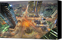 Complexity Canvas Prints - Night View Of Gongdeok, Mapo-gu, Seoul, Korea Canvas Print by Tokism