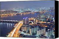 Waterfront Canvas Prints - Night View Of Seoul Canvas Print by Tokism