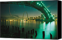 Mississippi River Canvas Prints - Night View Of St. Louis, Mo Canvas Print by Michael S. Lewis