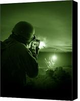 Gunfire Canvas Prints - Night Vision View Of A Special Canvas Print by Tom Weber