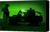 Gunfire Canvas Prints - Night Vision View Of U.s. Special Canvas Print by Tom Weber