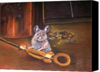 Mouse Pastels Canvas Prints - Night Visitor Canvas Print by Deborah Colony