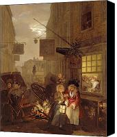 Poverty Canvas Prints - Night Canvas Print by William Hogarth