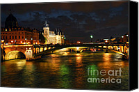 Traveling Canvas Prints - Nighttime Paris Canvas Print by Elena Elisseeva