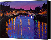 Lights Framed Prints Canvas Prints - Nighttown Ha Penny Bridge Dublin Canvas Print by John  Nolan