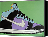 Athletic Painting Canvas Prints - Nike Shoe Canvas Print by Grant  Swinney