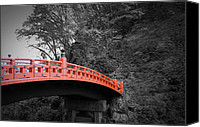 Japanese Canvas Prints - Nikko Red Bridge Canvas Print by Irina  March