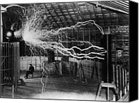 Historical Photo Canvas Prints - Nikola Tesla 1856-1943 Created A Double Canvas Print by Everett