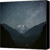 Night Photo Canvas Prints - Nilgiri South (6839 M) Canvas Print by Anton Jankovoy