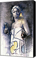 Nina Simone Canvas Prints - Nina Simone Canvas Print by Yuriy  Shevchuk